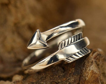 Adjustable Sterling Silver Arrow Ring.