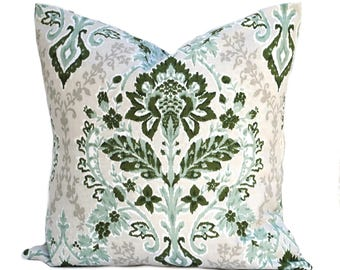 One Floral pillow cover,  Home decor, decorative pillow, throw pillow, Green pillow, Sage Pillow,  hunters green pillow