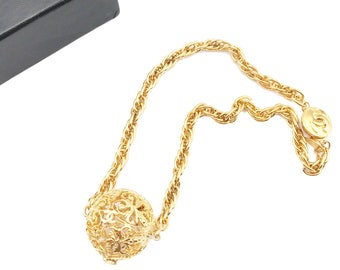 Chanel Vintage 18K Gold Plated Filigree CC Ball Pendant Necklace
