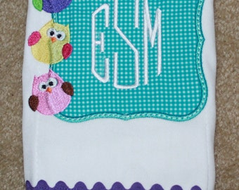 Baby Girl Personalized Burp Cloth - Monogrammed Burp Cloth - Owl Burp Cloth - Baby Shower Gift - Personalized Burp Cloth