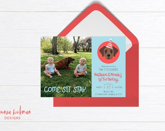 Puppy Birthday Invitation - Puppy Invitation - Puppy Party Invitation - 1st Birthday Invitation Boy - It's a Paw-ty - Come.Sit.Stay