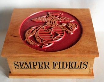 USMC Keepsake Box - Military Letter Box - Solid Wood Box - Marine Corps Keepsake Box - Gift For Military Man - Military Gifts For Men