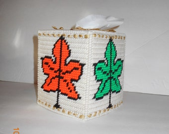 Fall Leaves Tissue Box cover-Plastic canvas, Autumn, colorful