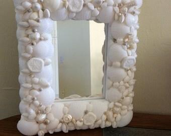 Gorgeous white seashell mirror---Ready to Ship