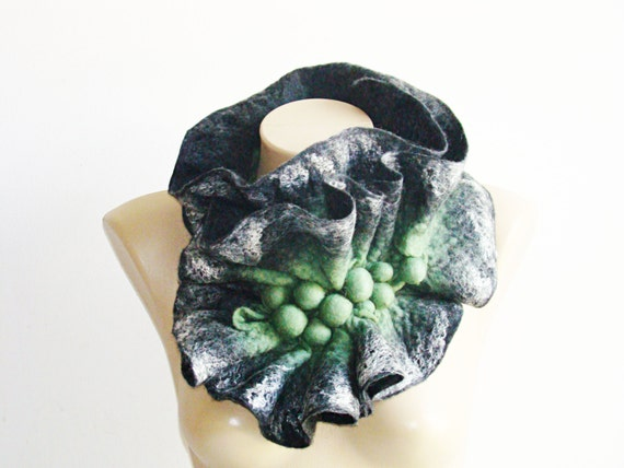 Winter Gray & green felted Scarf Wool Felted Scarf Neckpiece Collar.  Art Scarf Woodland Holiday gift Gift for women