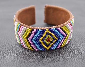 Multicolor Handmade Beaded Leather Cuff Bracelet