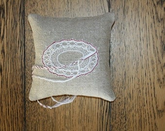Ring Bearer Pillow Handmade bobbinlace / Ring cushion  /Wedding Ring cushion / Wedding pillow / Rustic / Cottage style Weddings