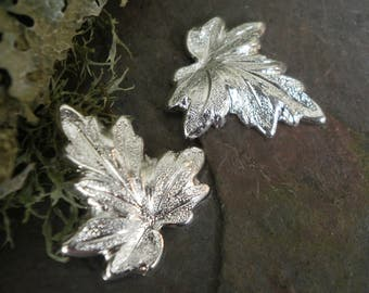 Silver Plated Stamping Small Size Leaf Pair Right and Left