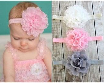 Lace Flower Headband, Light Pink, Ivory, Gray Headband, Baby Hair Bow, Newborn Headband, Baby Headband