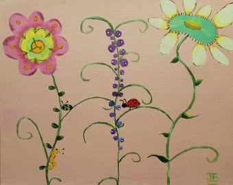 Whimsical, Flowers, Art for Childs Room, Florals, Lady Bugs, Catapillars, Fancy Flowers - 8 x 10 Art Print