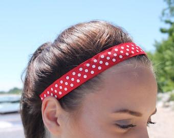 Workout Womens Headbands for Women, Polka Dot Headband Girls, Your Choice of Color & Size, Running Headband, Non Slip Headband