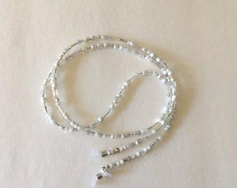 Eyeglass Chain, Czech White Glass Beaded Eyeglass Chain, White Women's Beaded Eyeglass Chain, Women's Beaded  Eyeglass Holder
