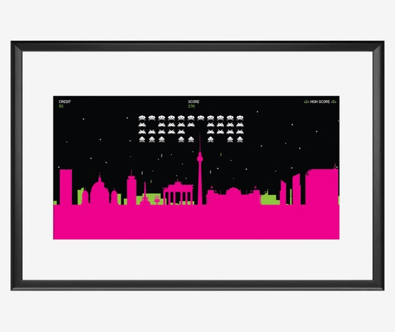 Space Invaders over Berlin Art Print