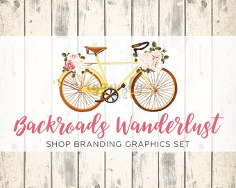 Rustic Vintage Etsy Shop Banners, Avatar Icons, Business Card, Logo Label + More - 13 Premade Branding Graphics Files - BACKROADS WANDERLUST
