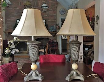 Pair DALE TIFFANY Lamp Marble w/Shade c.1979 Retro