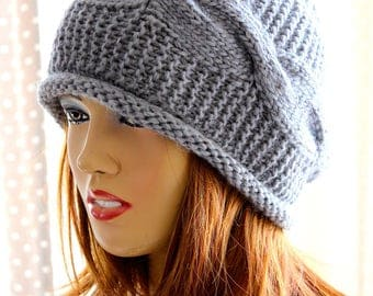 Gray knitting hat Womens Hat Slouchy Hat Slouchy Women Hat Slouch Beanie Cable Women Hat Oversized Hat Cable Hat Chunky Knit Hat Beanie