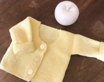 Yellow baby's wrap-around top, handmade knitted of garter sts, 3 months old