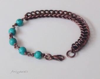 Copper bracelet, Chainmaille bracelet, Turquoise bracelet, Beaded bracelet