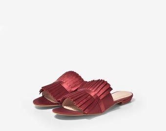 Rosa Red Satin Sliders, Red Satin Pleated Sliders, Satin Pleated Slippers