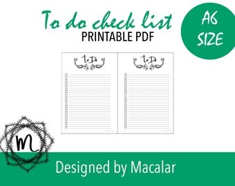 To do list PRINTABLE. Flower to do list for A6 planners. A6 Daily/weekly planners . A6 planner inserts. Planner 2017, cute planners