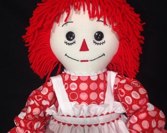 25 inch Raggedy Ann Doll; Handmade with Red Hair,Red Circle Heart dress, embroidered apron with rickrack, optional personalization
