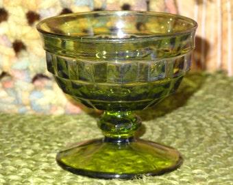 Set of 5 Indiana Glass Dessert Cups / Avocado Green Dessert Cups / Fruit Cups / Pedestal Dessert Cups / Diamond Cut