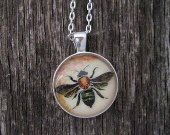 Bee Pendant Necklace Art Glass