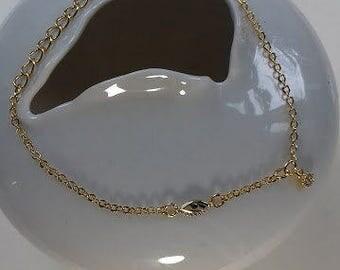 Tiny evil eye charm bracelet gold plated 18cm long