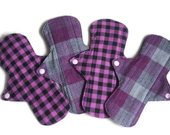 "SALE!4 Flannel 9 1/2"" Cotton Pads/ Washable and Reusable Regular to Heavy Flow Cloth Pads"