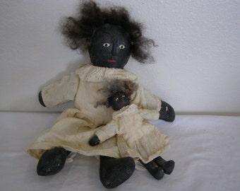 2 Primitive Black Folk Dolls. OOAK, handmade by myself about 1996.