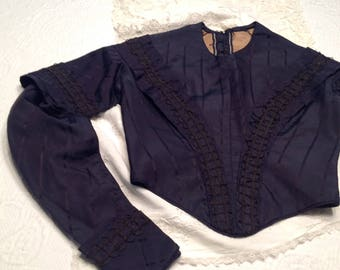Reduced price Antique victorian blue faille blouse