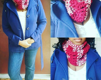 Crochet Cowl,  christmas gift, gifts under 25 crochet scarf fall style, Christmas infinity scarf chunky crochet scarf Cowl scarf, neckwarmer