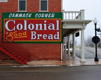 General Store, Painted Colonial Bread Sign. Cammack, Indiana. Fine Art Archival Photograph, Signed with COA