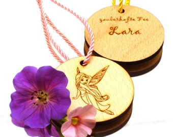 fairy pendant with name for children's birthday as personalized giveaway for motto party fairies birthday party medal with name medallion