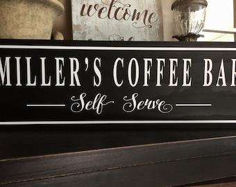 Coffee Bar Sign, Coffee Sign, Personalized Kitchen Sign, Christmas Gifts, Coffee Bar Ideas, Coffee Bar Shelf, Coffee Bar Decor-Gifts for her