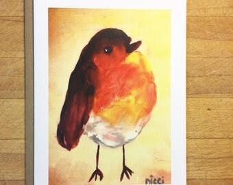 Orange bird note card