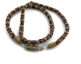 Mens summer party necklace Beaded garnet choker Garnet unisex necklace Vintage garnet jewelry Men choker Choker for him Red bead choker
