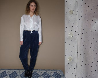 80's vintage womens white spotted shirt