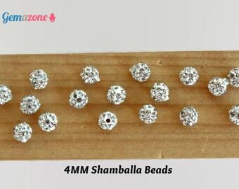 4MM Shamballa Beads / Rhinestone Beads / Silver Ball Beads / Crystal Beads / Pave Beads / Disco Balls Loose Shambala / Jewelry Making 10PC