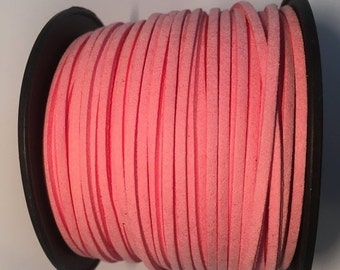 3 feet 3mm Flat Cord Suede- Pink Faux Leather cord finding, jewelry making supplies, Kallyco on Etsy