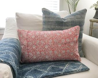 """Indian Block Print Pillow Cover Pink 12x20"""""""