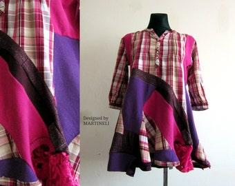 Pink Loose Tunic Oversize Tunic Patchwork Dress Boho Gypsy Dress Recycled Clothing Tunic Dress Women Bohemian Clothing Upcycled Sweaters