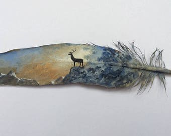 Painted feather.highland stag painted  feather. Framed