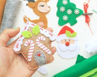 Felt gingerbread house ornament Christmas ornaments tree decorations Christmas decorations stocking stuffer felt ornament christmas gift