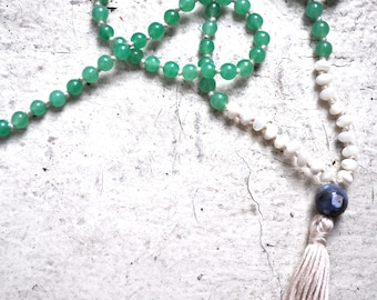 green aventurine + mother of pearl mala with handmade cream tassel