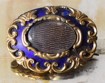 Antique Victorian Mourning Brooch Hair Memento Mori Gold and Enamel