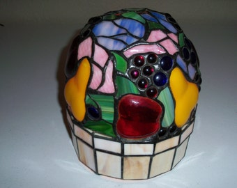 Stunning Tiffany Style Vintage Dome Fruit Basket Stained Glass Table Lamp Light