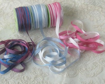 Beautiful Hand Dyed Variegated Silk Ribbon - 5Yd. Cuts - 3 Different Colors Available - Crafts, Sewing, Crazu Quilt & Ribbonwork