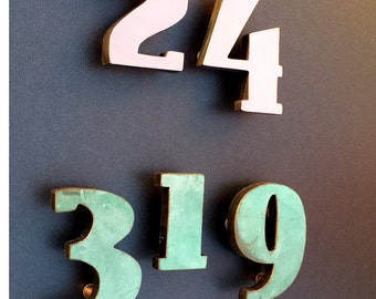 "Art Deco 4"" high copper faced floating House numbers,  - Polished and  lacquered or patinated g"