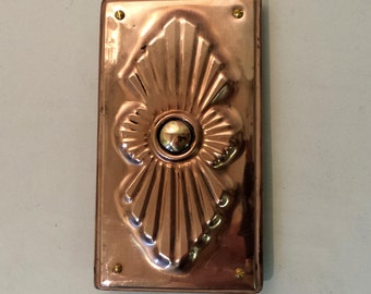 Art Deco Door Bell Push Button in Copper, handmade, for 12/24vDC systems